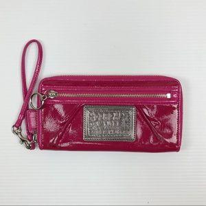 Coach Poppy Pink Wristlet Patent Leather Purse